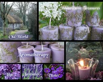 LAVENDER Votive Candle & Amethyst Gemstones ~ Loaded Lavender Lilac Violet Flowers ~ Handmade Gift Box
