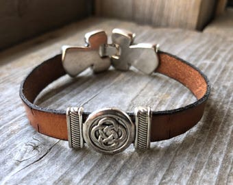 Custom Fitted Brown Leather Bracelet With Silver Celtic Slide Charm And Decorative Snap Clasp