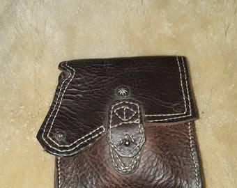 Buffalo skin side pouch hip bag