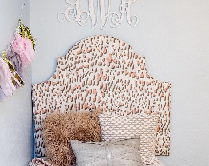 Extra Tall Dorm Twin Headboard, Twin Headboard, Blush Pink Printed Fabric, Dorm Decor, Kids Decor, Dorm Headboard, Kids Headboard