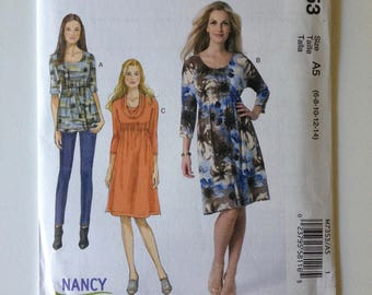McCalls 7353, Misses Top and Dress, Pullover Top, Knit Dress, Raised Waist, Nancy Zieman, New uncut sewing pattern, size 6-14
