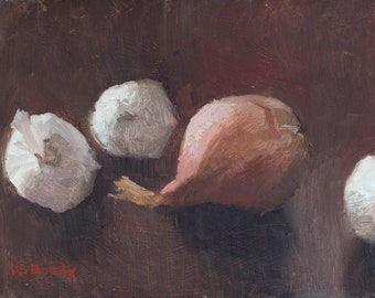 Still life painting - garlic and shallot