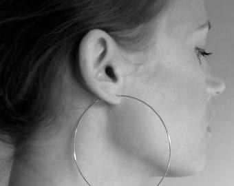 Silver Hoop Earrings 3 inch, Extra Large Thin Hoops, Sexy Hammered Elegant Hoops, Fashion Earrings, XL Hoops, Big Earrings, Rose Gold