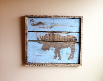 Moose Silhouette Sign from Reclaimed Wood (Blue)