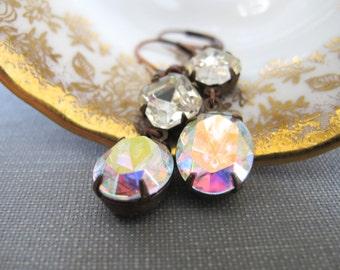 Rhinestone Earrings, AB Glass Earrings, Crystal AB, Copper Earrings, Vintage Glass Charms, Vintage Rhinestones, Oval Glass Charms