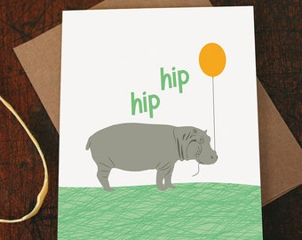 carte de félicitations / hip hip hourra / hippo