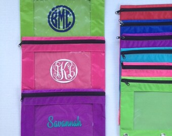 Personalized School Supplies - Personalized Pencil Pouch - Monogram Pencil Pouch for 3 Ring Binder - Kids Back to School -