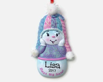 Best Big Sister Personalized Ornament - Purple - Hand Personalized Christmas Ornament