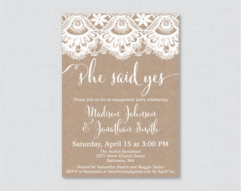 Burlap and Lace Engagement Party Invitation Printable or Printed - Rustic Engagement Party Invitations - Burlap and Lace Party Invites 0003