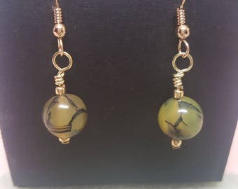 Dragon Vein Agate Earrings (Dyed)