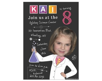 Science Birthday Invitation, Custom Photo Chemistry Science Invitation, Scienctist Birthda;y Party, Chemistry Theam Birthday Party