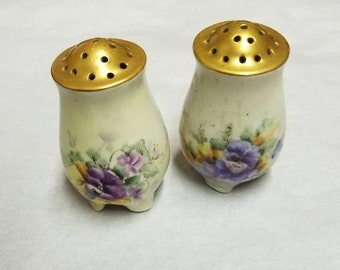 Vintage Floral Salt and Pepper Shakers with Gold tops, Floral Salt and Pepper Shakers, Austria, Marked Austria White, Purple floral