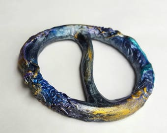 Mermaid Scarf Slide, Scarf Ring, Shirt Slide, Shawl Ring in Brilliant Blue, Purple and Gold