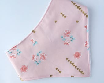 Blush Pink Roses Bib - Baby Bandana Bib - Baby - Bandana Bib - Baby Bandana Bib - Baby Girl Bib - Drool Bib - Baby Shower - Blush Pink