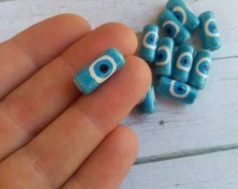 Evil Eye Clay Tube Beads// Handmade Peruvian Beads// Turquoise Ethnic Beads// Hand painted South American Beads// 17mm// 10 Pieces