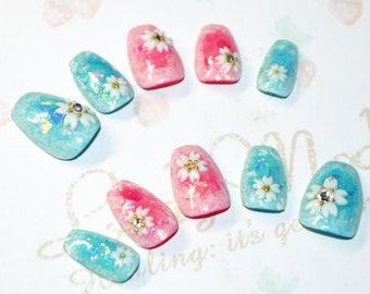 Japanese kawaii nail art false nail, fake nails, flower, sakura, kimono, pink, blue, party, cosplay, lolita accessory, fairykei