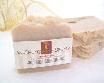 Soap Holiday Silk Organic handmade soap with Tussah Silk