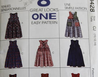 Girls' Vintage Jumper Pattern McCall's 8428 Size CJ (10-12-14)