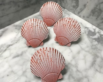 Seashell Knobs Hand Painted in Coral with White Metal Knob Dresser Drawer Replacement Pulls, Set of 4 Knobs, Item #593325932