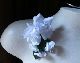 WHITE Silk Roses for Bridal, Boutonnieres, Hats, Corsages MF 138w