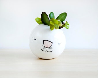 Cat ceramic plant pot, Face planter, Succulent planter, Ceramic animal planter, Ceramics & pottery, animal plant pot, Cute planter clay face