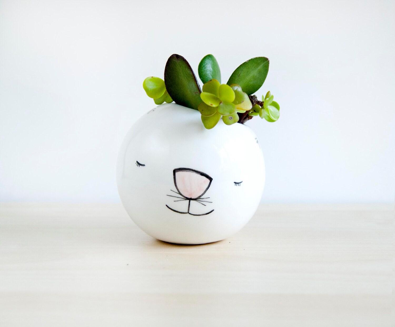 Cat ceramic plant pot Face planter Succulent planter