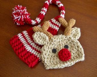 Baby Hat Set  - Baby Hats - Elf Hat - Reindeer Hat - Christmas Hat Twin Set - Baby Elf Hat - Baby Reindeer Hat -by JoJosBootique