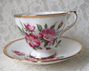 Vintage Paragon Wild Rose Floral with Gold Trim Porcelain Footed Teacup & Saucer Set