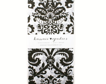 24 sheets of Tissue Paper Black and White Damask  - 100% recycled 15 x 20 inch Tissue Paper for Packaging, Weddings and Gift Wrapping