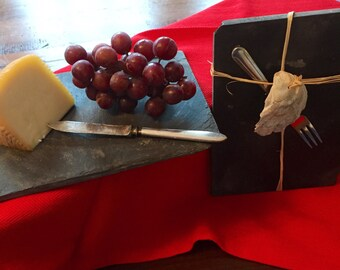 Reclaimed Slate Cheese Board w/ vintage knife - Slate Hostess Gift - Slate Cheese Tray - Appetizer Serving Dish