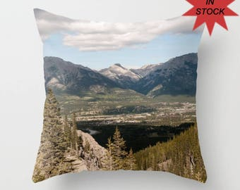 Decorative Sofa Cushion Cover, Rocky Mountains in Canmore Alberta, Canadian Lake House Decor, Handmade Dorm Bedding Throw Pillow Case