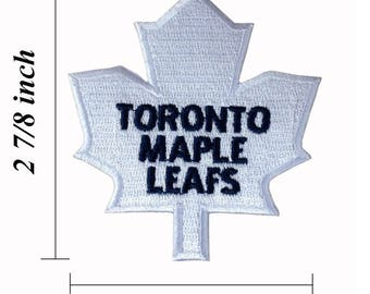 """Toronto Maple Leafs White Logo 2.75"""" Embroidered Iron On Patch."""