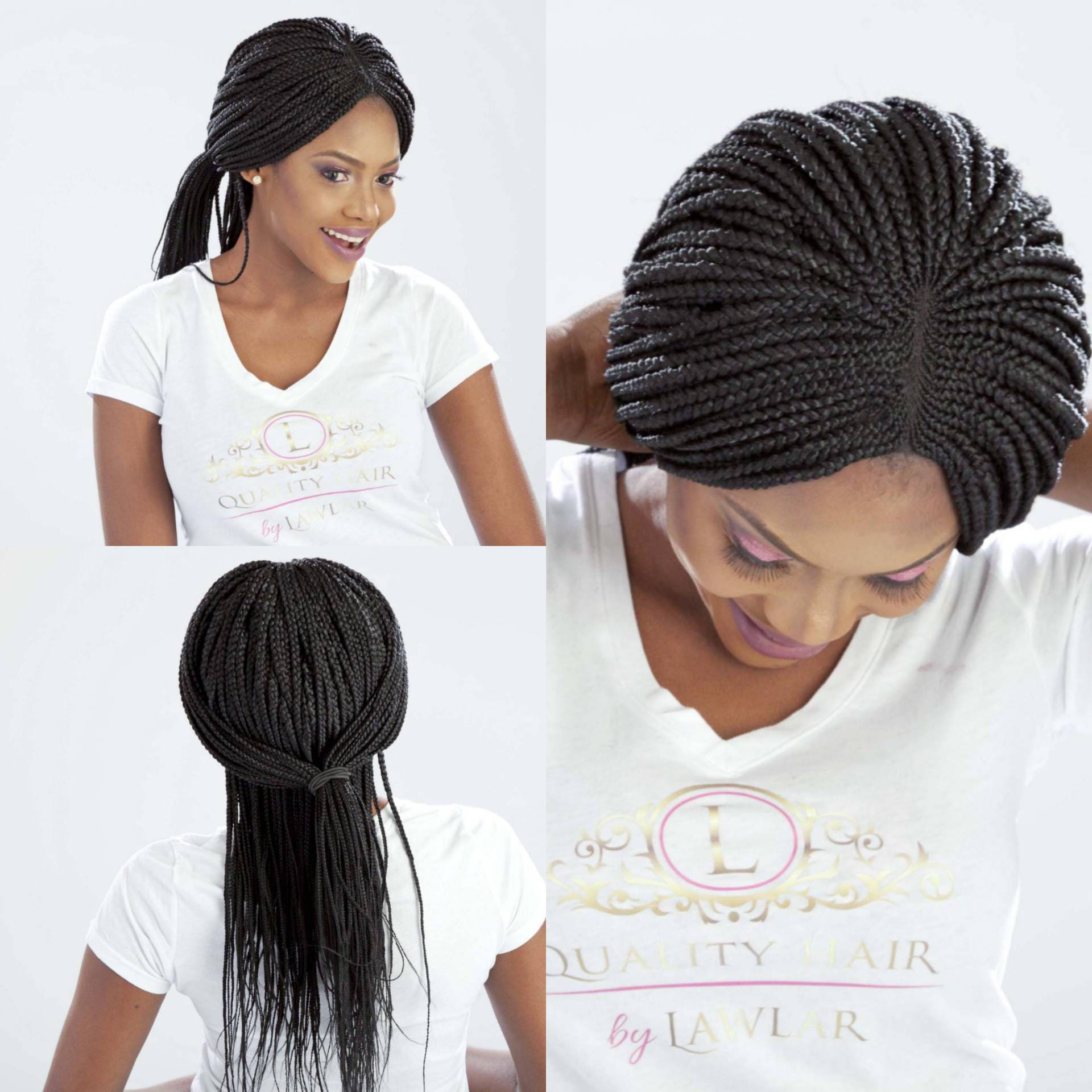 Braided Lace front Wig/ Ghana Cornrow Wig / Fully hand