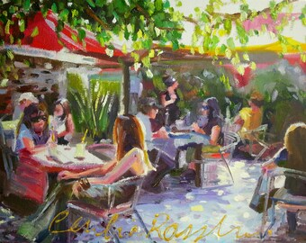 AT THE CORKSCREW Art Print of Original Oil Painting, Outdoor Restaurant