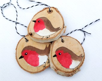 Wood Slice Robin Christmas Ornaments THREE Robin Redbreast Holiday Decoration, Rustic Robin Decorations Christmas Robin Ornament Handmade