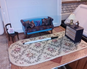 Great Quality dollhouse furniture living room set lot house of miniatures handmade hand crafted couch chair with pillows rug lamp 1/12 scale