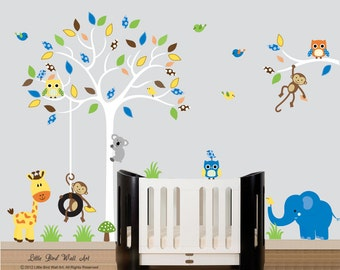 Wall decal tree baby wall decal with white tree branch wall decal sticker