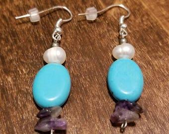 Turquoise Pearl Amethyst Drop Earrings