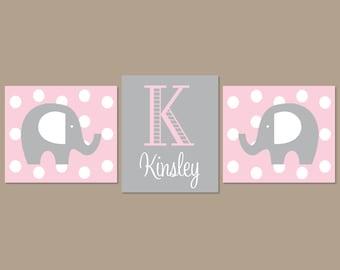 Baby Girl Nursery Art, Pink Gray Nursery, Elephant Nursery Wall Art, Elephant Nursery Decor, Girl Nursery Decor, Prints Or Canvas, Set Of 3