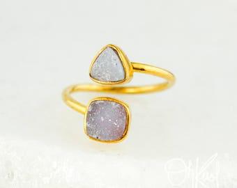 Gold Pink Agate Druzy Dual Ring - Dual Druzy Ring - Pink Geode Ring
