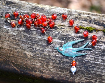 Collier oiseau bleu avec chaîne de perle de verre Orange coloré fait main bijoux cadeau