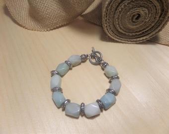 Semi-precious stone and silver bracelet