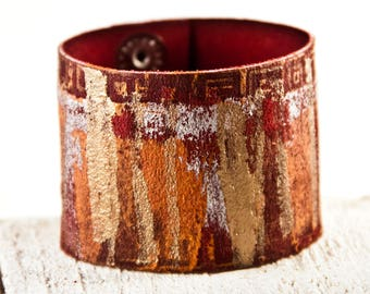 Red Gold Orange Bracelet Cuff ,Leather Jewelry, Leather Wrist Cuff, Leather Wristbands