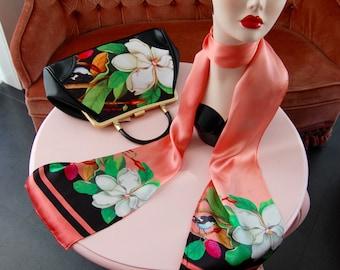 Handbag + Silk Scarf, 100% silk scarf,Miss White bag,christmas,gift for her,gift for mom,Woody Ellen,christmas gifts,christmas gift ideas