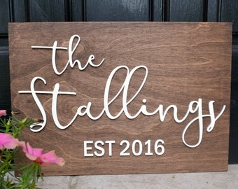 "Wood Family Sign - Personalized Est Sign - Bridal Shower Gift - Wedding Gift - Anniversary Gift - Last Name Sign - 16""x11"""