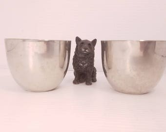 Vintage Pair of Pewter Jefferson Cups, Keller and George, Vintage Pewter Tumblers, Great Condition