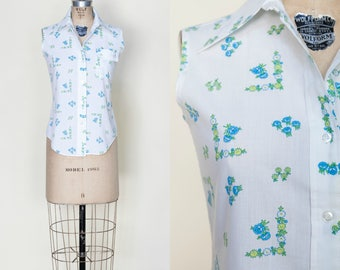 Vintage 1950s Button Up Sleeveless Blouse Small