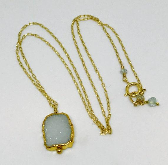 Aquamarine Druzy Necklace, Electroformed Vermeil Gold Aquamarine Pendant, Minimalist Aquamarine, March Birthstone, Throat Chakra Necklace