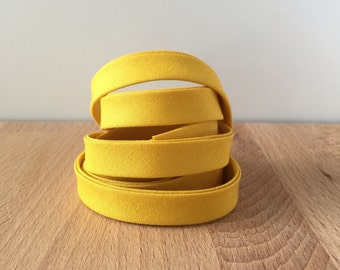 "Bias Tape- Kona Grellow 1/2"" double-fold cotton binding- Mustard yellow 3 yard roll"