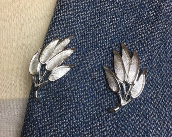 Vintage Judy Lee Silver Tone Leaves on Branch Clip Earrings